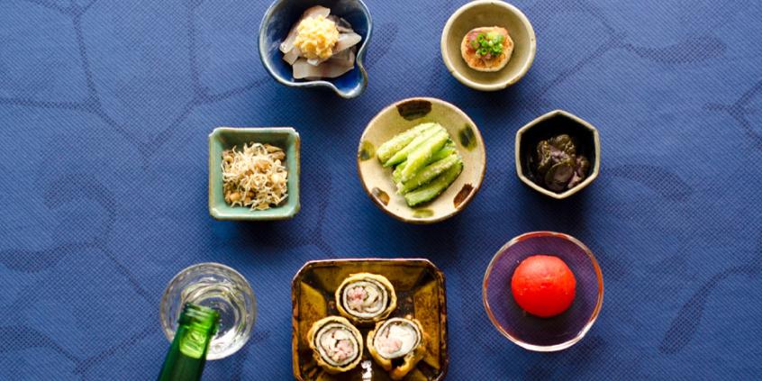 豆皿おつまみで楽しむ日本酒「槌目盃」「Tebineri 豆皿」